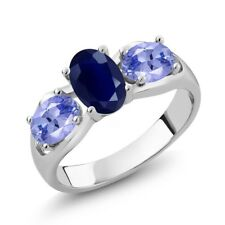 1.92 Ct Oval Blue Sapphire Blue Tanzanite 925 Sterling Silver Ring