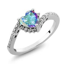 0.99 Ct Heart Shape Mercury Mist Mystic Topaz White Sapphire 18K White Gold Ring
