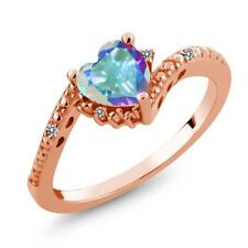 0.98 Ct Heart Shape Mercury Mist Mystic Topaz White Diamond 18K Rose Gold Ring