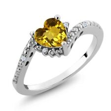0.75 Ct Heart Shape Yellow Citrine 925 Sterling Silver Ring