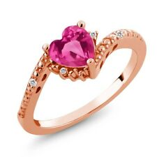 0.99 Ct Pink Mystic Topaz White Sapphire 18K Rose Gold Plated Silver Ring