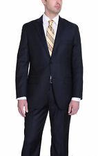 Tasso Elba Classic Fit Blue Striped Two Button Wool Pleated Pants Suit