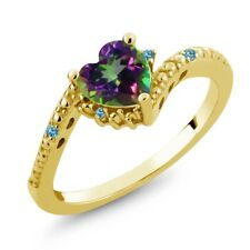 0.97 Ct Heart Shape Green Mystic Topaz Swiss Blue Topaz 18K Yellow Gold Ring