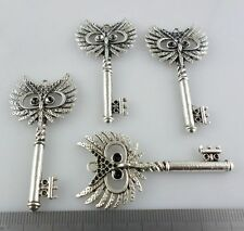 1/4/30pcs Tibetan Silver Owl Key Charms Pendants 28x58mm for Jewelry Findings