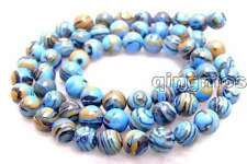 "SALE Small 8mm Blue peacock zebra stripe Round agate beads strands 15"" -los478"