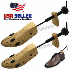 One Pair Men Shoe Tree Stretcher 2-Way Wooden Adjustable US Sizes 7-14 Shoes