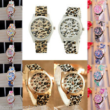 Shop Vintage Fashion Flower Print Watches Quartz Geneva Silicone Wristwatches