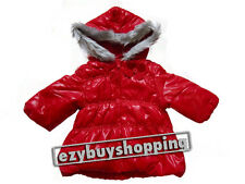 Red Padded Hooded Winter Puffer Coat Girls Jacket