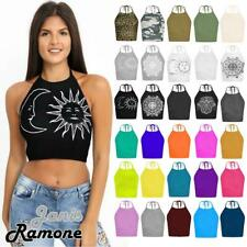 New Womens Ladies Tie Up Halter Neck Plain Crop Top Sleeveless Vest T Shirt Tops