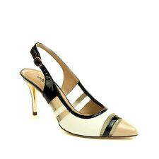 VANELi Women's Shamba Black Ecru and White Patent Leather Slingback Pump