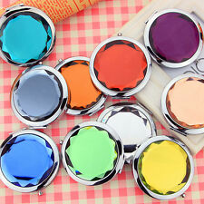 1Pcs Mini Stainless Travel Compact Pocket Crystal Folding Makeup Mirror 7cm New
