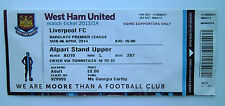 WEST HAM UNITED FC Vs LIVERPOOL FC Memorabilia / Ticket Stub 06/04/14