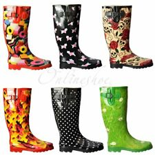 Womens Girls Flat Wellie Wellington Festival Rain Boots Sausage Dogs New Size