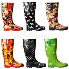 Womens Girls Flat Wellie Wellington Festival Rain Boots PUG Dogs New Size