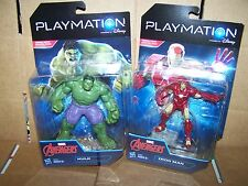 LOT OF 2 PLAYMATION MARVEL AVENGERS ACTION FIGURES- IRON MAN & HULK - HASBRO
