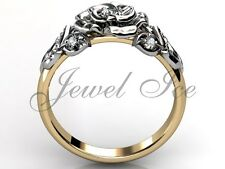 14k Yellow and White Gold Diamond Leaf and Vine Flower Engagement Ring ER-1059-7