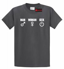 Man Woman Geek Funny T Shirt Nerd Gift Gamer Unisex Tee S-5XL, 16 Colors