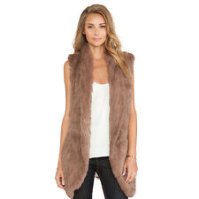 Thick Woman Vest Free Size 100% Real Knitted Rabbit Fur Hook Coat Jacket V0111