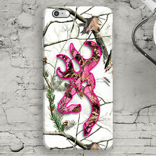 Snow Deer Head Camo Pink White iPhone 4,4s,5,5s,5c,SE,6,6S,6+,6S+ Country Case