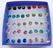 SHCA    Wholesale Lots 20 Pairs Multicolor Rhinestone Stud Earrings In Jewelry