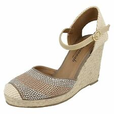 Ladies Savannah Taupe Jute Wrapped Wedges F2257