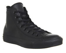 Mens Converse All Star Hi Leather BLACK MONO Trainers Shoes