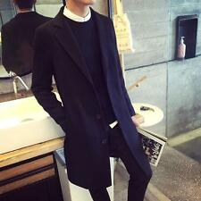 Mens chic mid long lapel trench coat british outwear slim fit city casual jacket