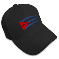 Cuba Cuban Flag Flame Embroidery Embroidered Adjustable Hat Baseball Cap