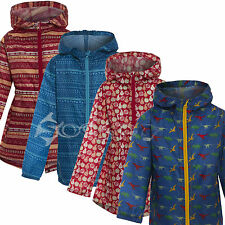 Childrens Boys Girls Hooded Rain Coat Printed Kag Jacket Parka Mac Pakamac