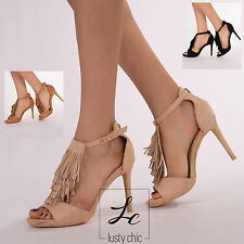 Women Ladies High Heel Sandal Black Beige Tan Suede Party Peep Toe Shoe Size 3-8