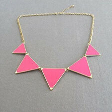 Geometric Necklace Pendant Hot Choker Triangle Chain Enamel Bib Collar