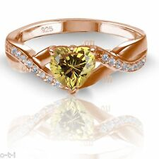 18k Rose Gold Plated Simulated Heart Cut Citrine Diamond Infinity Ring