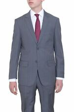 Mens Classic Fit Medium Gray Plaid Two Button Super 140's Wool Suit