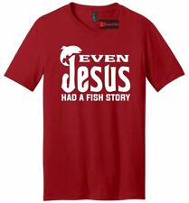 Even Jesus Had a Fish Story Mens V-Neck T Shirt Funny Religious Fishing Tee