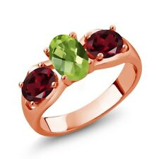 1.85 Ct Oval Green Peridot Red Rhodolite Garnet 18K Rose Gold Plated Silver Ring