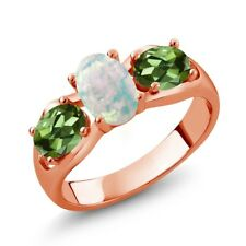 1.63 Ct White Simulated Opal Green Tourmaline 18K Rose Gold Plated Silver Ring