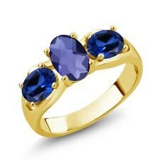 1.65 Ct Oval Checkerboard Blue Iolite Simulated Sapphire 18K Yellow Gold Ring