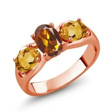 1.50 Ct Orange Red Madeira Citrine citrine 18K Rose Gold Plated Silver Ring