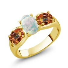 1.63 Ct Oval Simulated Opal and Mystic Topaz 18K Yellow Gold Plated Silver Ring