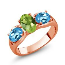 1.85 Ct Oval Green Peridot Swiss Blue Topaz 18K Rose Gold Plated Silver Ring