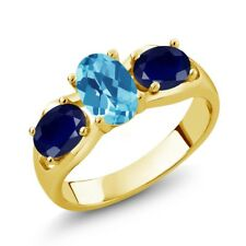 2.05 Ct Oval Swiss Blue Topaz Blue Sapphire 18K Yellow Gold Plated Silver Ring