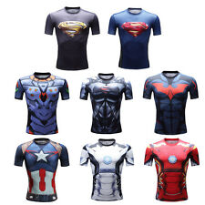 Superhero Compression Shirt Top Base Layer Short Sleeve Tight Wear For Fitness