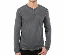 John Varvatos Star USA Men's Reverse Print Snap Henley Grey Heather $98 msrp NWT