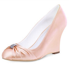 Lady Closed Toe High Heel Prom Wedges Rhinestone Satin Evening Party Pumps Shoes