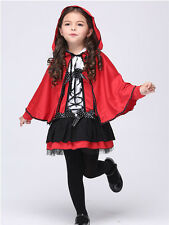 Red Girl's Devil Cosplay Party Fancy Dress Hooded Cloak Halloween Costumes kids