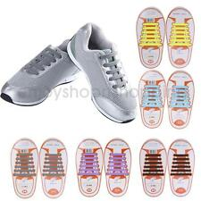 12x Silicone Elastic Shoelaces No Tie Laces Shoe Sneakers Trainer Kids Hot NEW