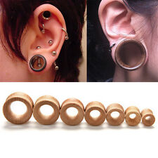 Organic Wood Hollow Double Flared Ear Plugs Tunnels Expander Stretcher Gauge SE