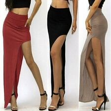 WOMENS LADIES HIGH WAISTED OPEN LONG RUCHED SIDE SPLIT SLIT MAXI SKIRT DRESS NEW