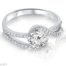 Simulated Brilliant Diamond Swirl Genuine Sterling Silver Engagement Ring