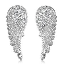 Fashion 18K Rose White Gold Plated GP Swarovski Crystal Angel Wing Stud Earrings
